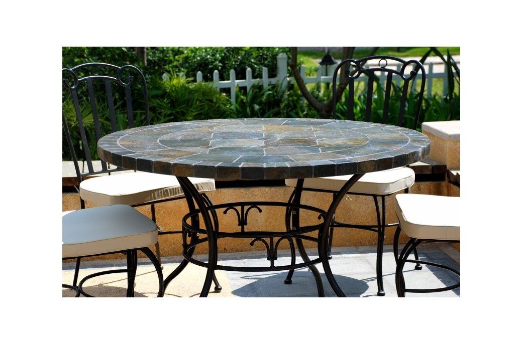 125 160cm round slate patio dining table tiled mosaic oceane for Round stone top dining table