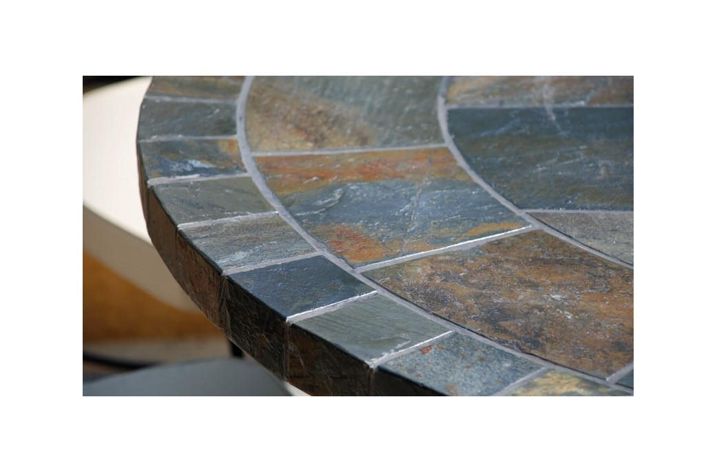 125160cm Round Slate Patio Dining Table Tiled Mosaic OCEANE