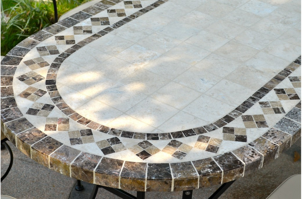 160-180-240 cm Oval Outdoor Garden Stone Mosaic Marble Dining Table - OVALI