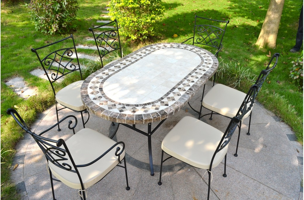 160 180cm oval outdoor garden stone mosaic marble dining - Table jardin tressee ...
