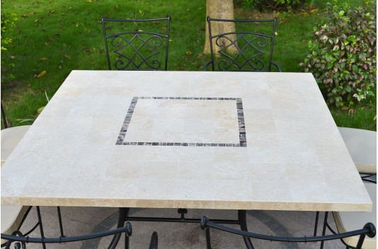140x140cm Outdoor Indoor Square Marble Stone Dining Table CAPRI