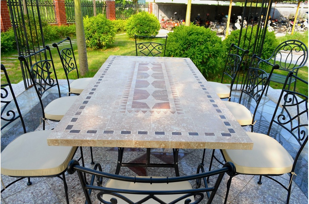 Outdoor garden 160 200 240cm mosaic natural stone marble for Garden patio table