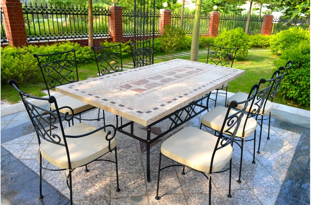 Outdoor garden 160 200 240cm mosaic natural stone marble - Table roulante de jardin ...