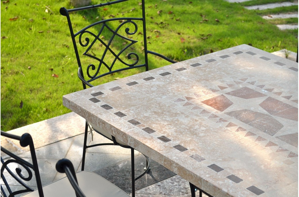 Outdoor Garden 160 200 240cm Mosaic Natural Stone Marble Dining Table Wrought Iron Tampa