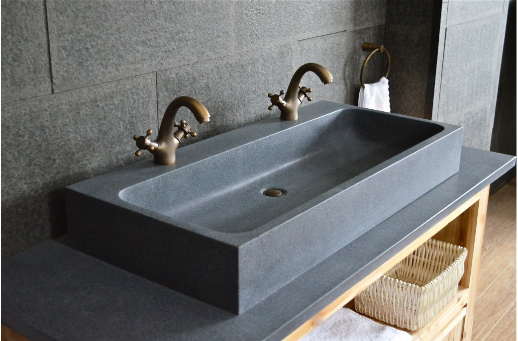 1000mm double trough granite stone bathroom sink looan for Double basin bathroom sinks