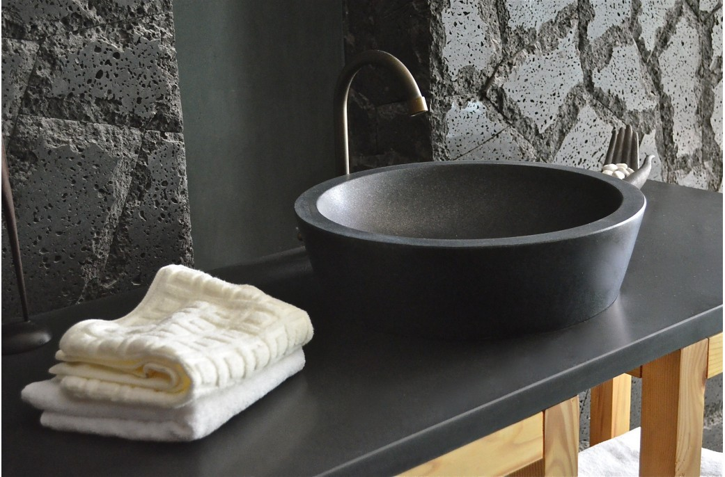 400mm Round Stone Black Granite Bathroom Basin - LEAF SHADOW