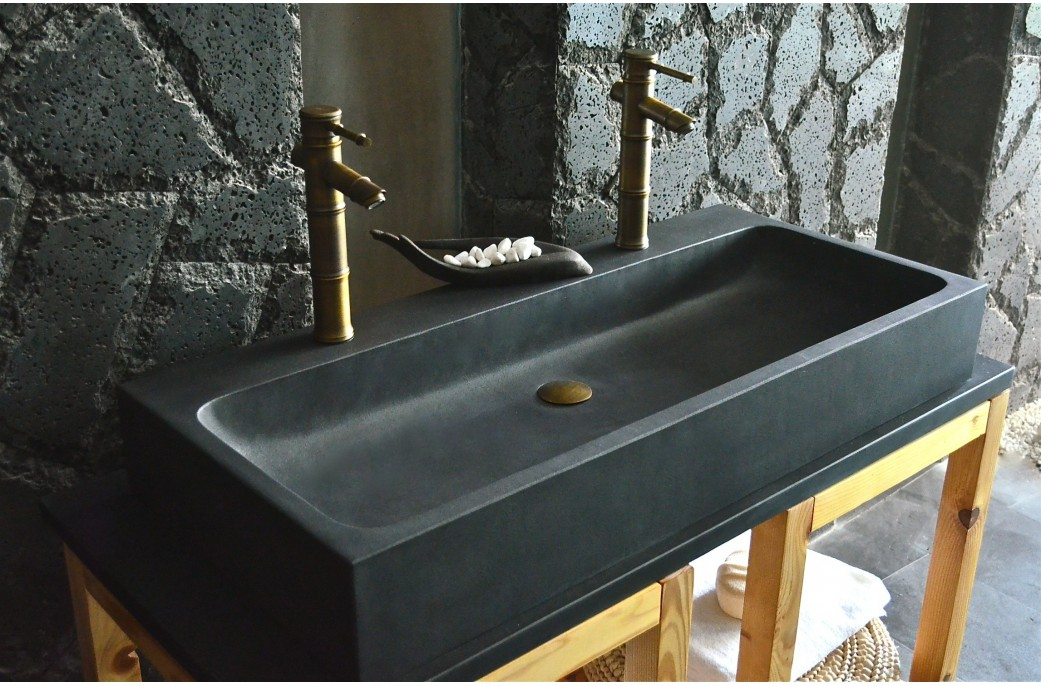 Black Bathroom Basin : 1000mm Double Basins Sink Wet Room Black Basalt Stone LOOAN DARK- ? ...