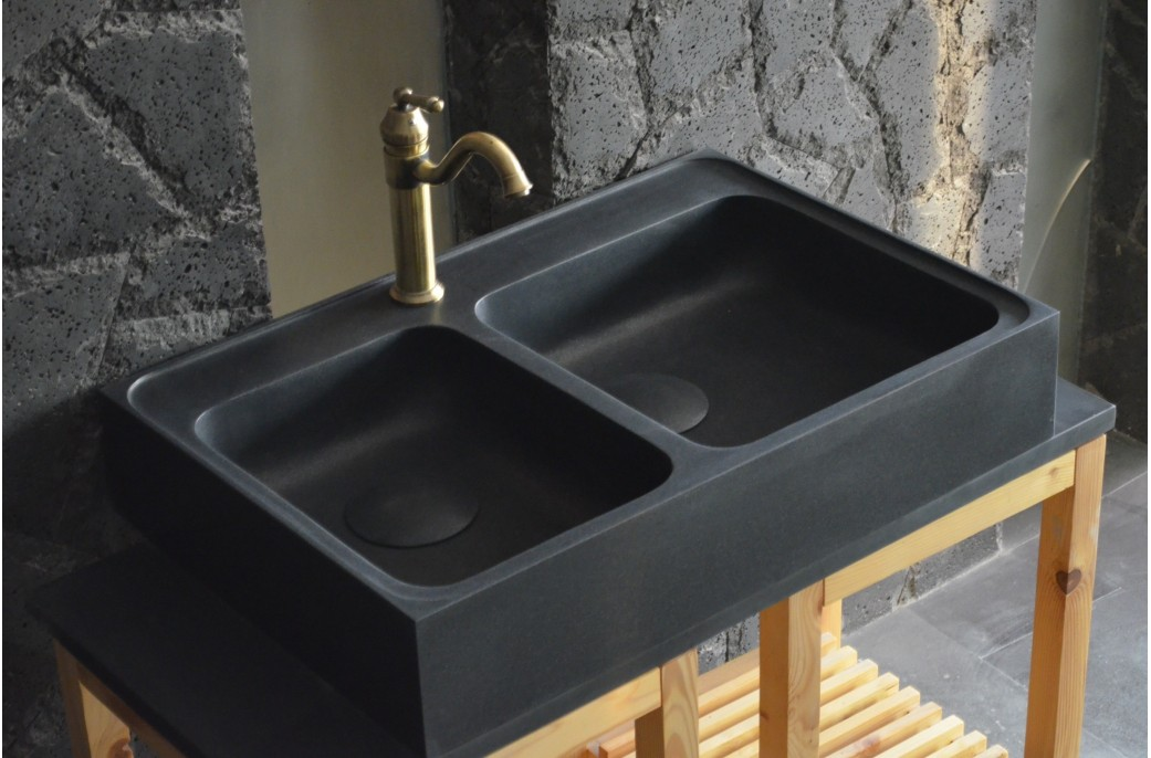 900mm black granite double bowl kitchen sink karma shadow - Cuisine evier noir ...