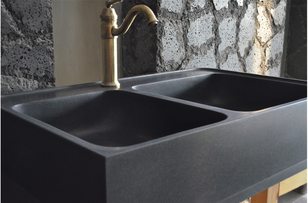 900mm Black Granite Double Bowl Kitchen Sink   KARMA SHADOW