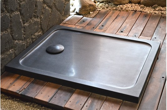 1000x800mm Black Granite Stone Shower Tray - MERCURION SHADOW
