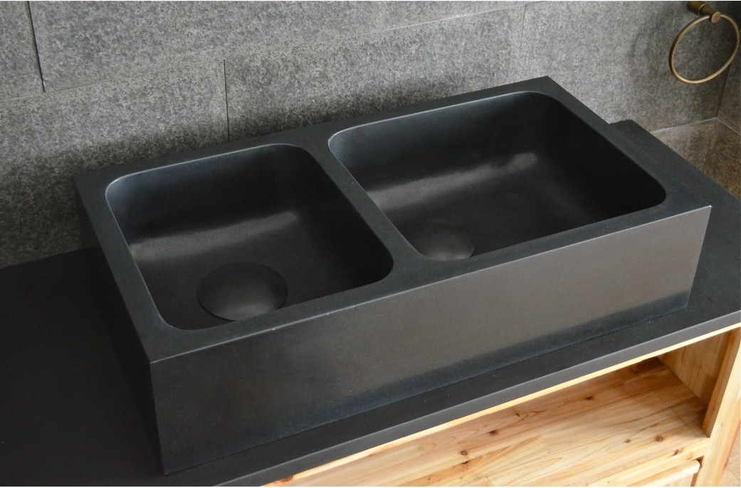 Black Double Sink Kitchen : kitchen sink,genuine granite,natural stone