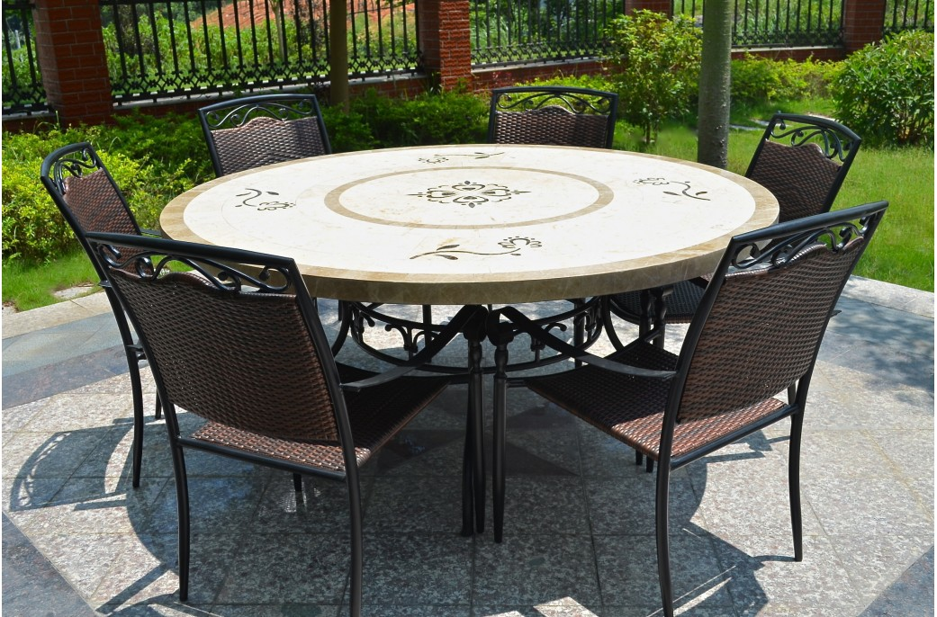 170cm round outdoor garden marble mosaic dining table luxor - Grande table ronde de jardin ...