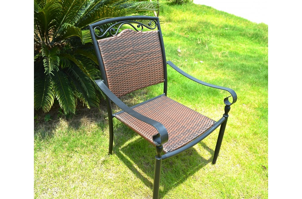 189 Garden Outdoor Patio Wrought Iron And Wicker Chair Florida on Wrought Iron Oval Patio Table