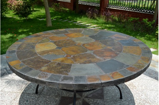 125 160cm Round Slate Patio Dining Table Tiled Mosaic OCEANE : 125 160cm outdoor garden round slate mosaic table oceane from www.livingroc.co.uk size 534 x 352 jpeg 67kB