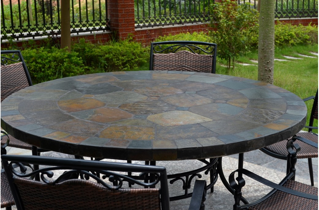 125 160cm round slate patio dining table tiled mosaic oceane - Table roulante de jardin ...