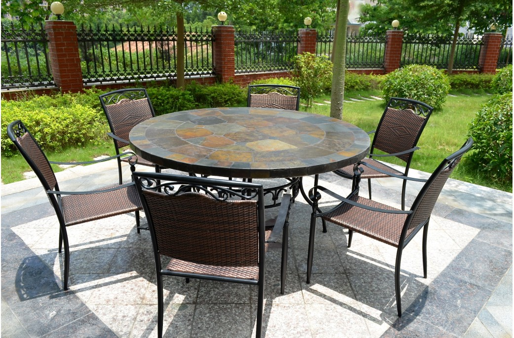 Round slate patio table submited images