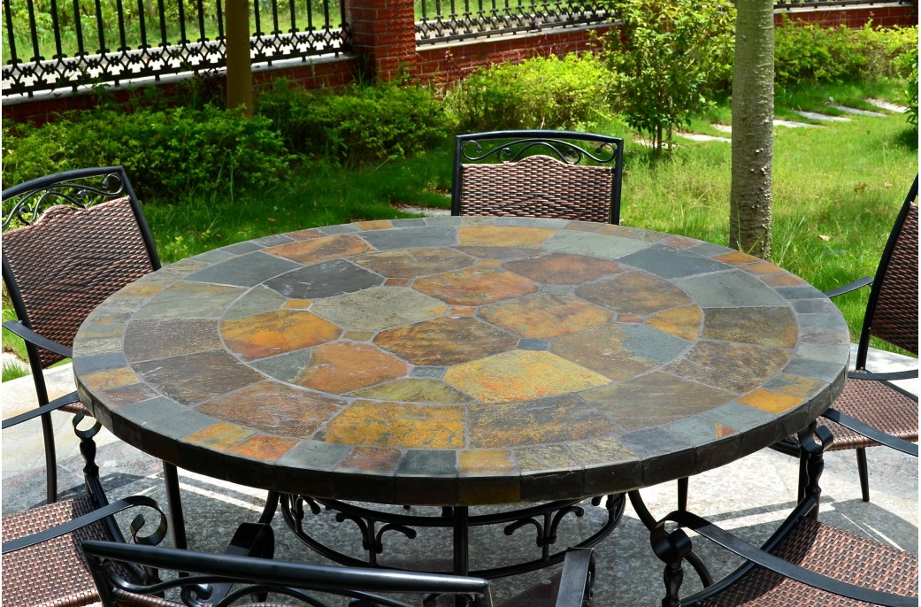 125 160cm Round Slate Patio Dining Table Tiled Mosaic Oceane