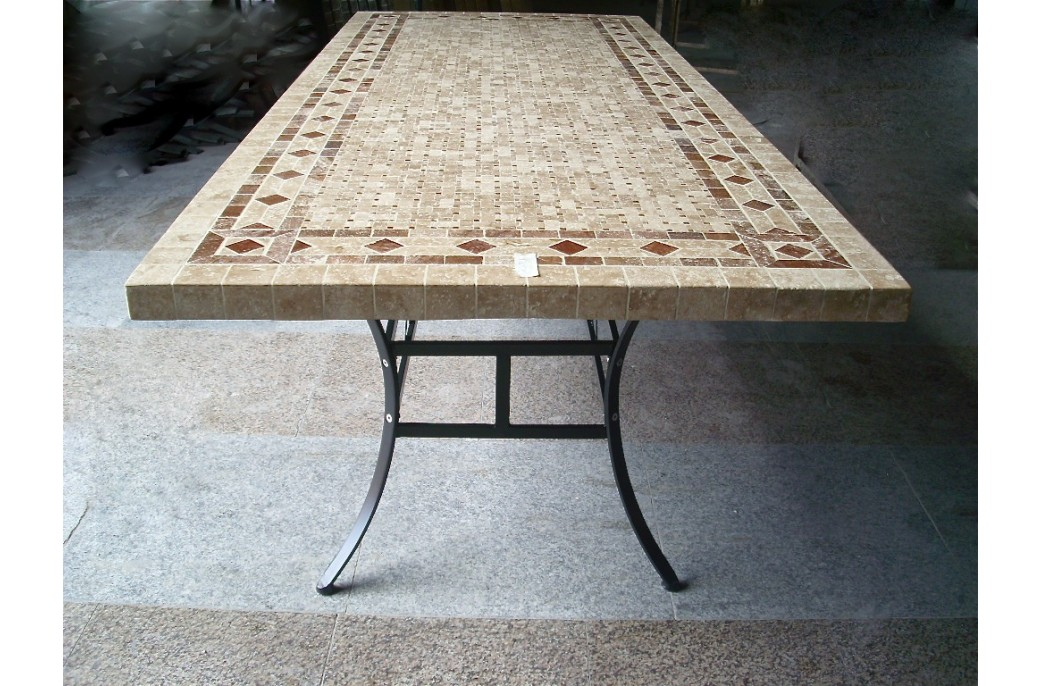 Delightful 160 200 240cm Italian Mosaic Marble Outdoor Patio Table Wrought Iron    TUSCANY