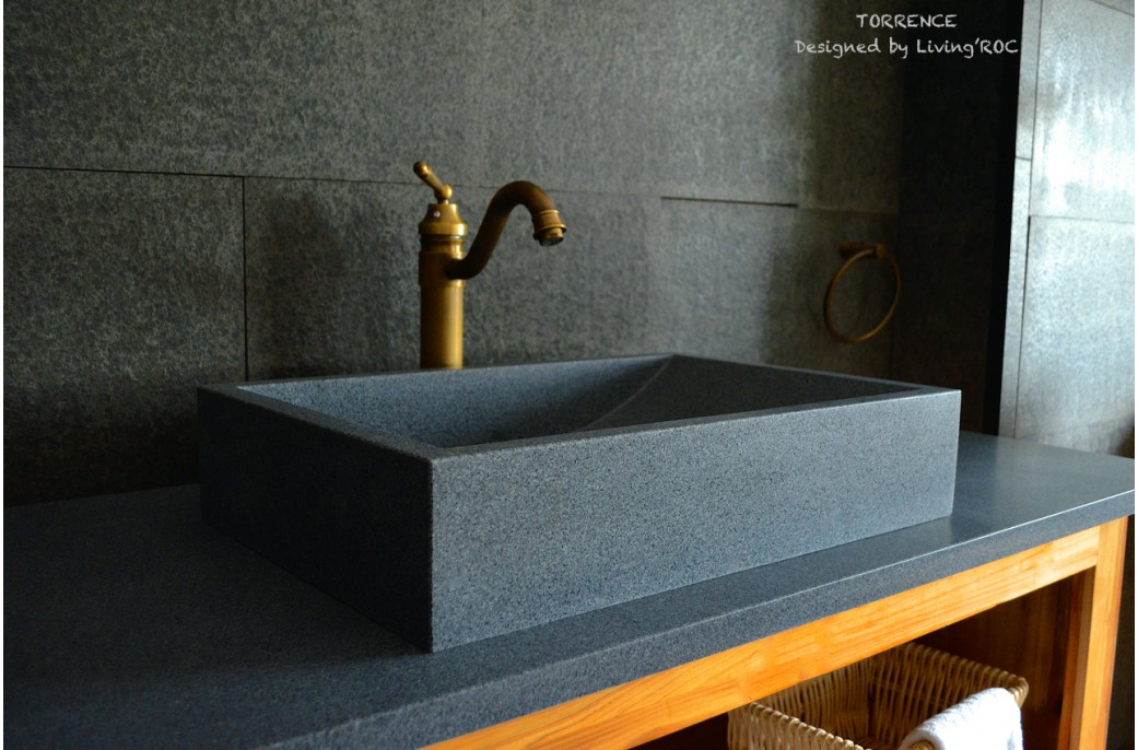 600mm Grey Granite Stone Bathroom Wash Basin Sink - TORRENCE
