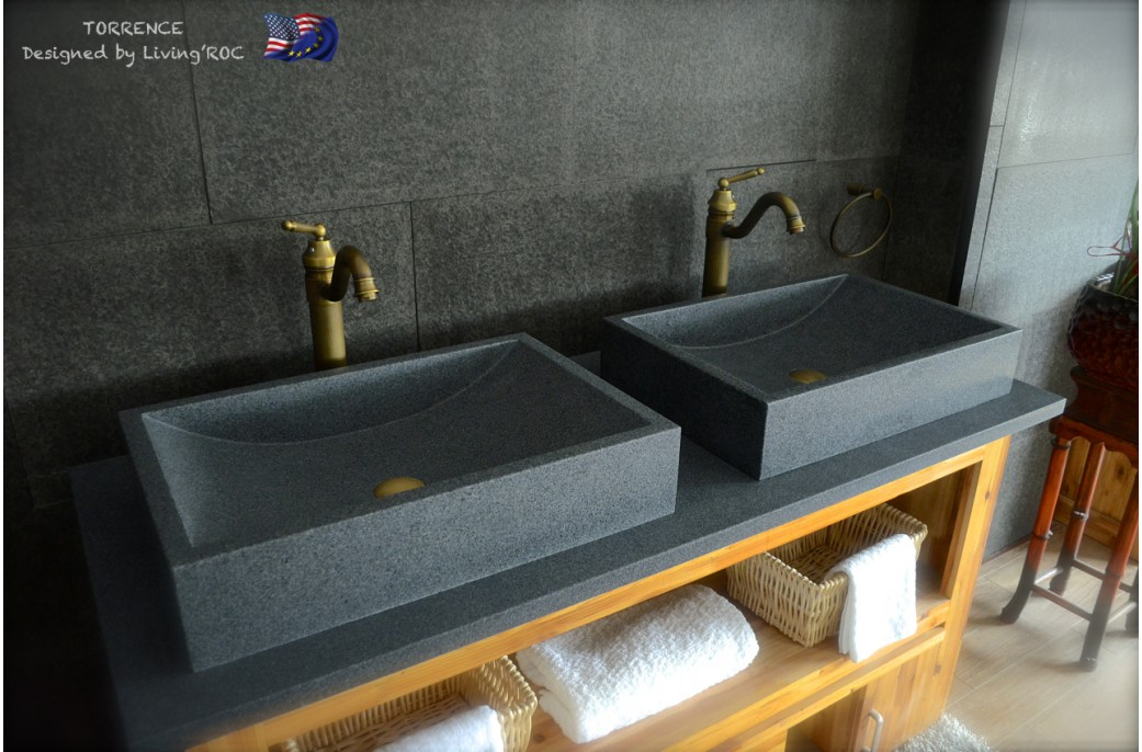 600mm Grey Granite Stone Bathroom Basin Sink Torrence