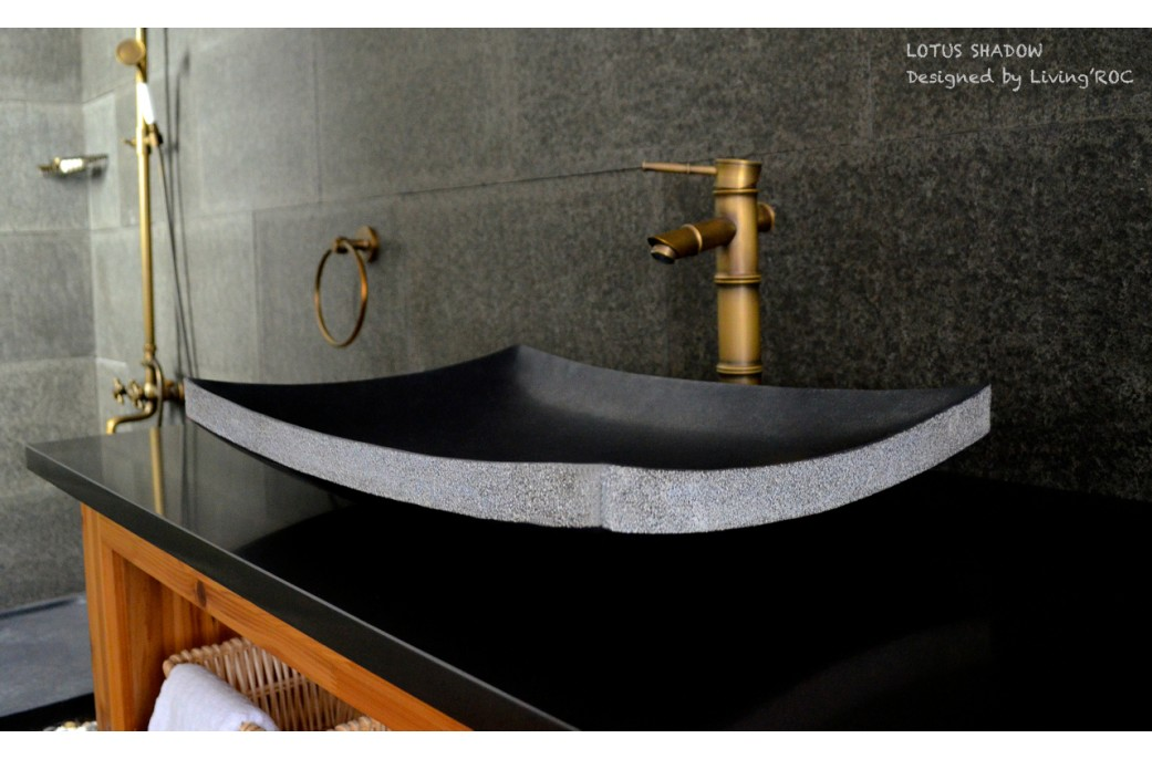 Black Bathroom Basin : 600mm Black Basalt Bathroom Stone Wash Basin Sink - LOTUS