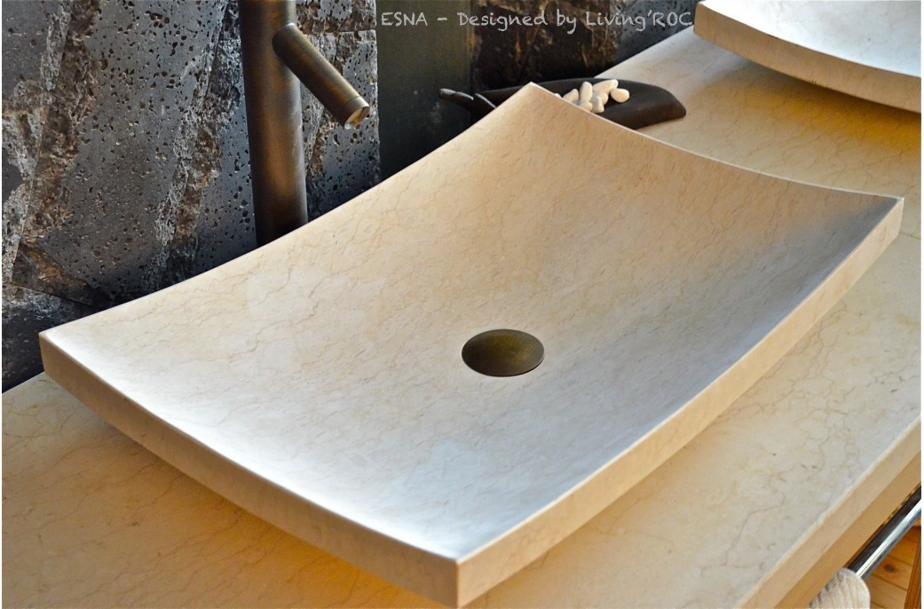600mm Stone Bathroom Basin Egyptian Marble Sunny Yellow - ESNA