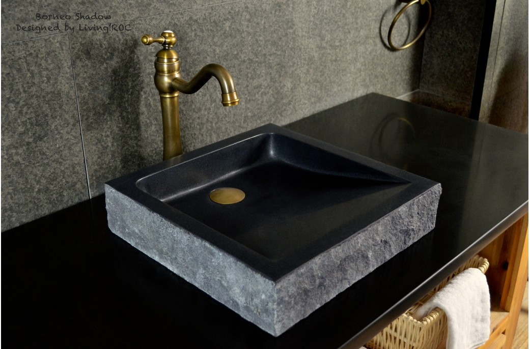 Stone Basin Bathroom : 400-600mm Black Basalt Stone Basin Bathroom Sink BORNEO
