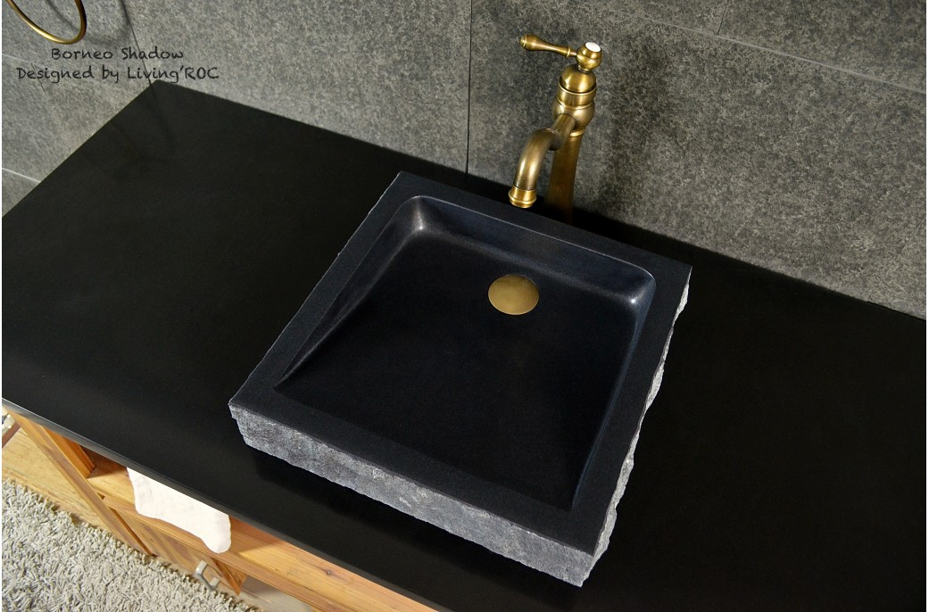 Black Bathroom Basin : 400-600mm Black Basalt Stone Basin Bathroom Sink BORNEO- ?293.00 ?