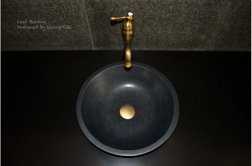 Dia 400mm Round Black Granite Bathroom Basin Leaf Shadow