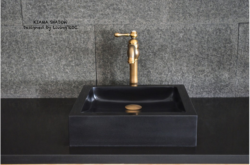 400 600 Mm Black Basalt Stone Square Bathroom Wash Basin Kiama