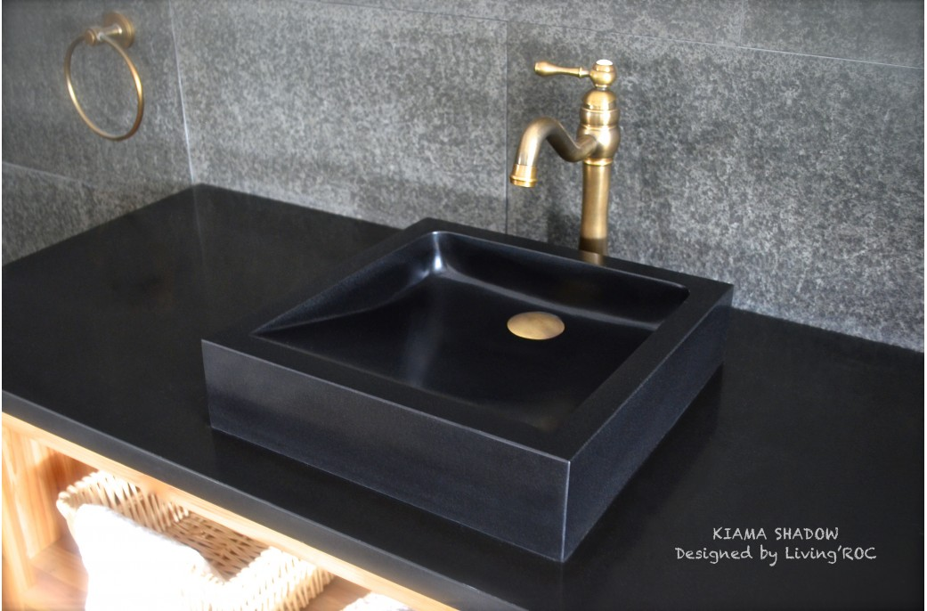 Black Bathroom Basin : 400-600 mm Black Basalt Stone Square Bathroom Wash Basin KIAMA