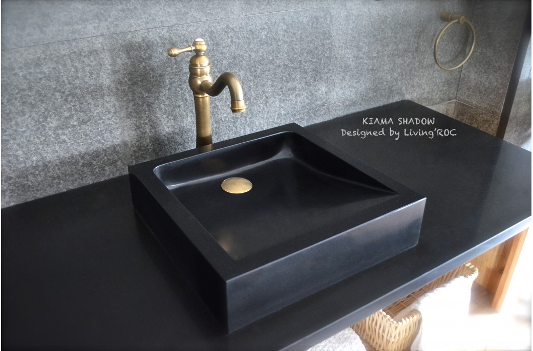 Black Bathroom Basin : 400-600 mm Black Basalt Stone Square Bathroom Basin KIAMA- ?299.00 ?