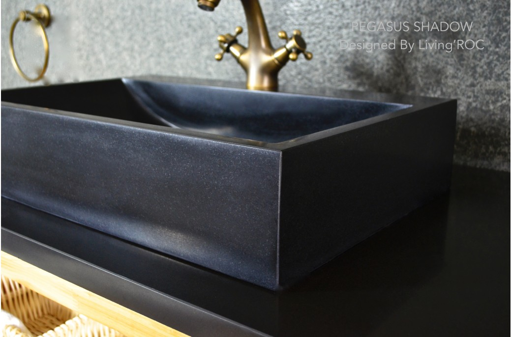 Black Bathroom Basin : 600mm Black Basalt Stone Bathroom Basin - PEGASUS BLACK