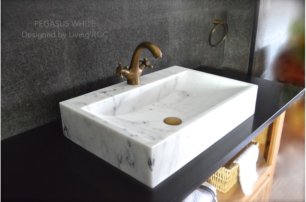 Stone Vanity Sinks : 600 White Marble Bathroom Basin Sink + faucet hole PEGASUS WHITE