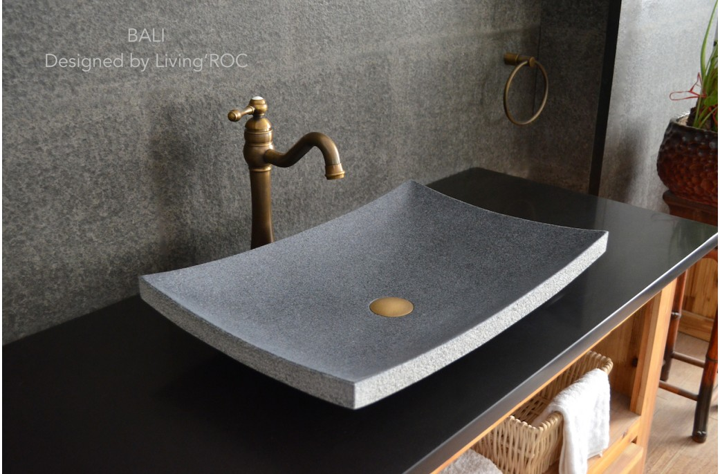 600mm Grey Granite Bathroom Basin Stone BALI