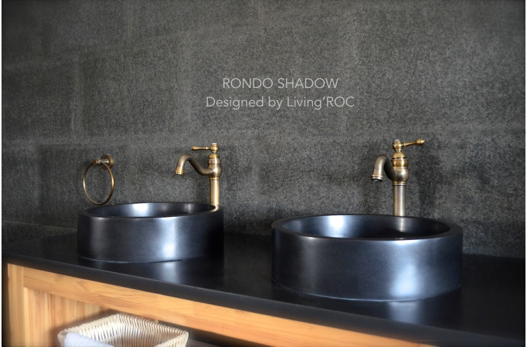 Black Bathroom Basin : 400mm Round Black basalt Stone Bathroom Basin - RONDO DARK