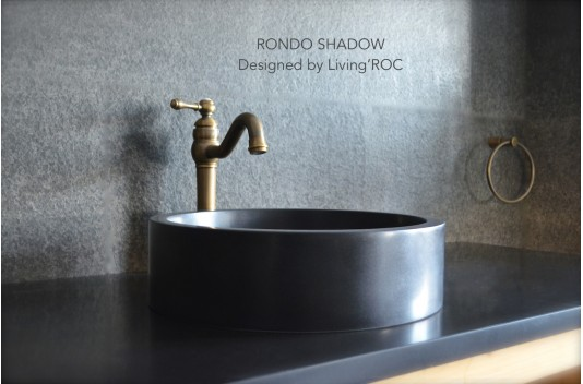 400mm Round Black basalt Stone Bathroom Basin - RONDO DARK