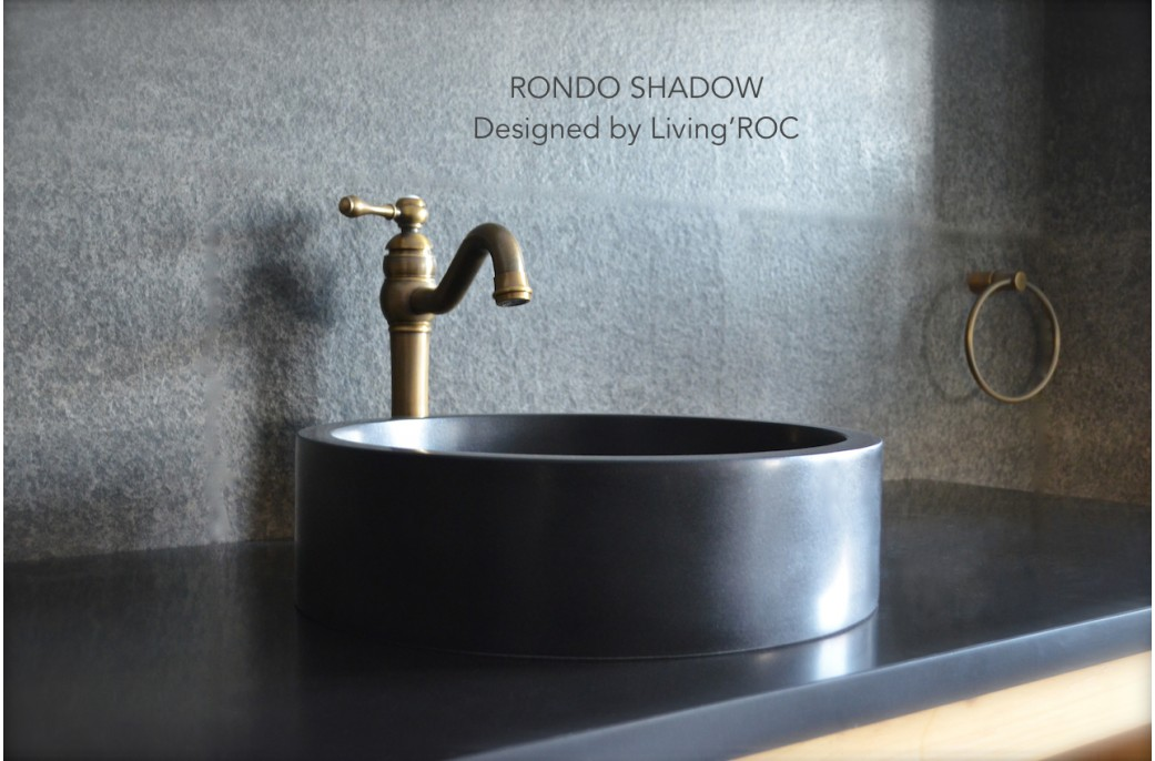 400mm Round Black Basalt Stone Bathroom Basin Rondo Dark