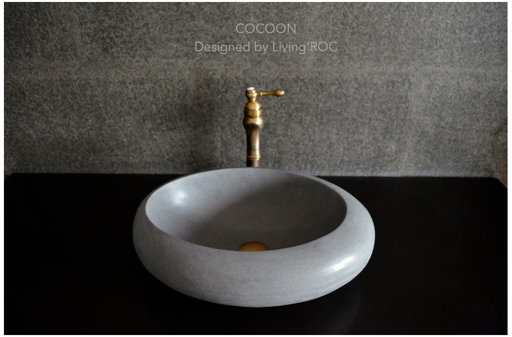 500mm Bathroom Sink : 500mm Oval Grey Basalt Bathroom Stone Basin COCOON