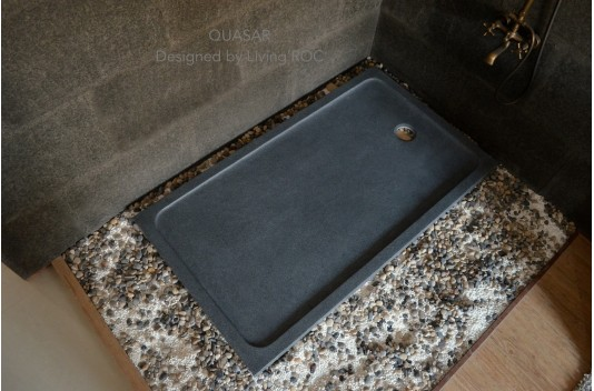 1600x900 Grey Granite Shower Tray Solid Stone - QUASAR