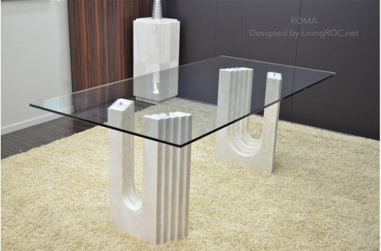 2000mm Travertine Marble Dining Table Tempered Glass Top - ROMA