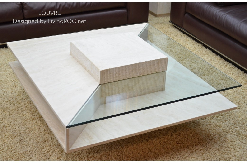 100x100cm Square Travertine Marble Coffee TableLOUVRE