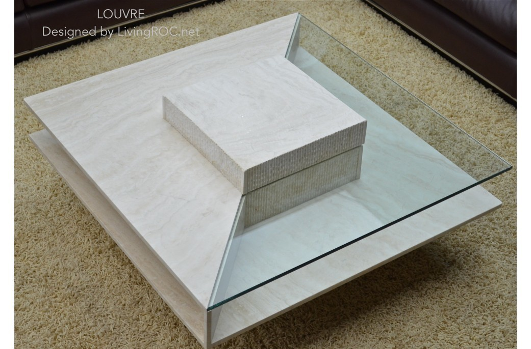100x100cm square travertine marble coffee table louvre for Table basse laquee beige