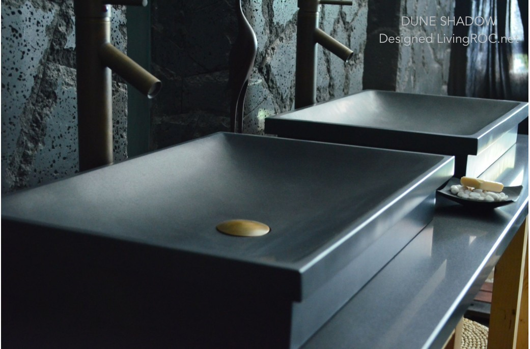 600mm Black Granite Bathroom Stone Basin Sink Dune Shadow