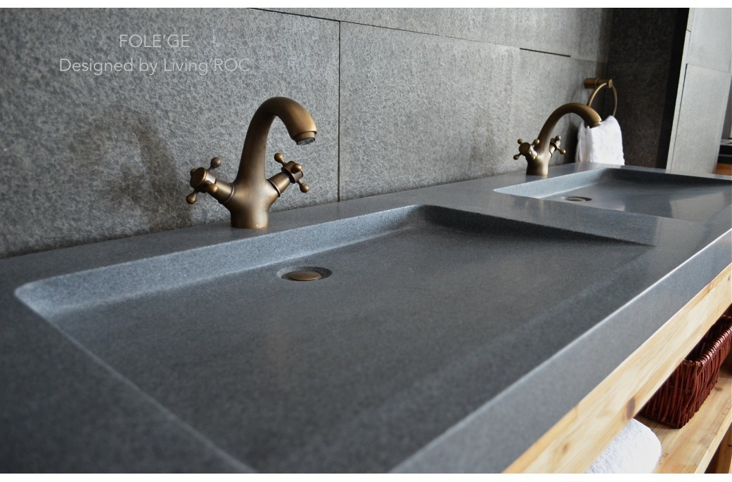 1600mm Double Sink Bathroom Real Granite Stone Basin Sink