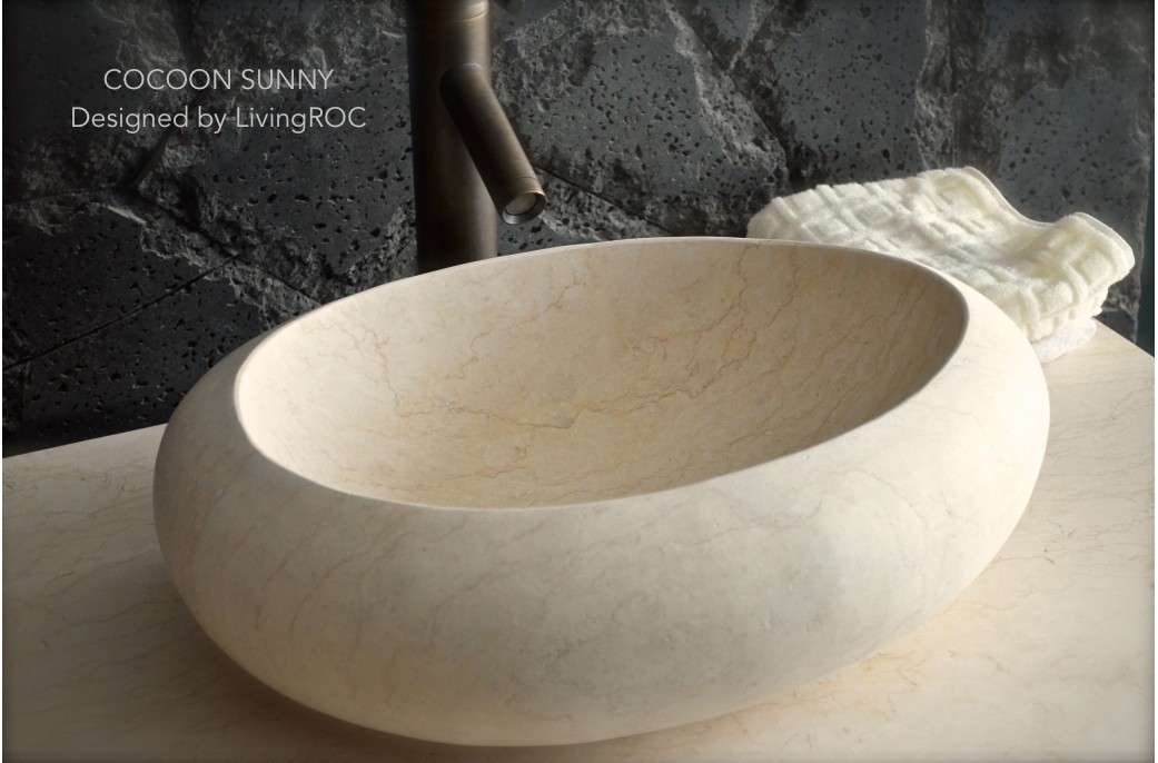 500mm Oval Egyptian Marble Stone Wash Basin - COCOON SUNNY