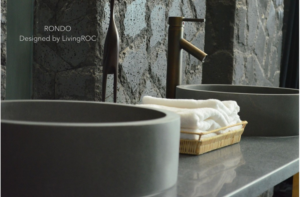 400mm Stone Basin Round Grey Basalt RONDO