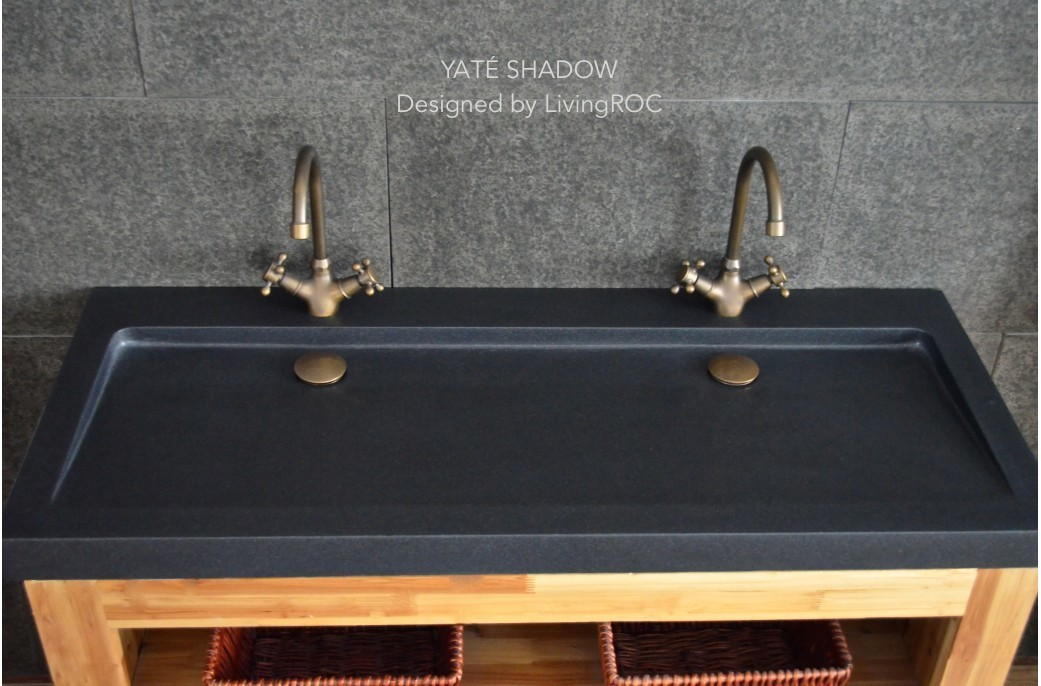Black Granite Sink : 1200mm Black Granite Double trough Bathroom Sink - YAT? SHADOW