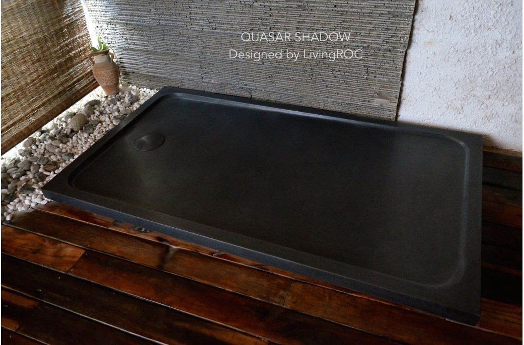 1600x900 Black Granite Shower Tray Stone - QUASAR SHADOW