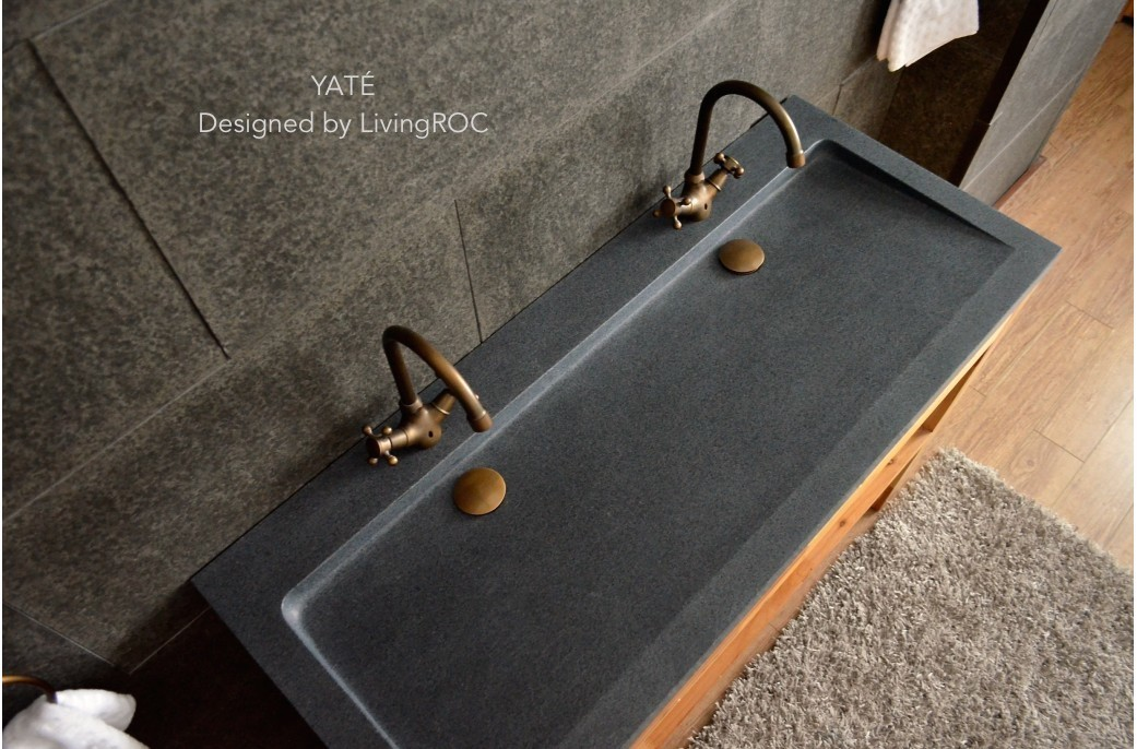 1200mm Double Trough Grey Granite Stone Bathroom Basin Yat 201
